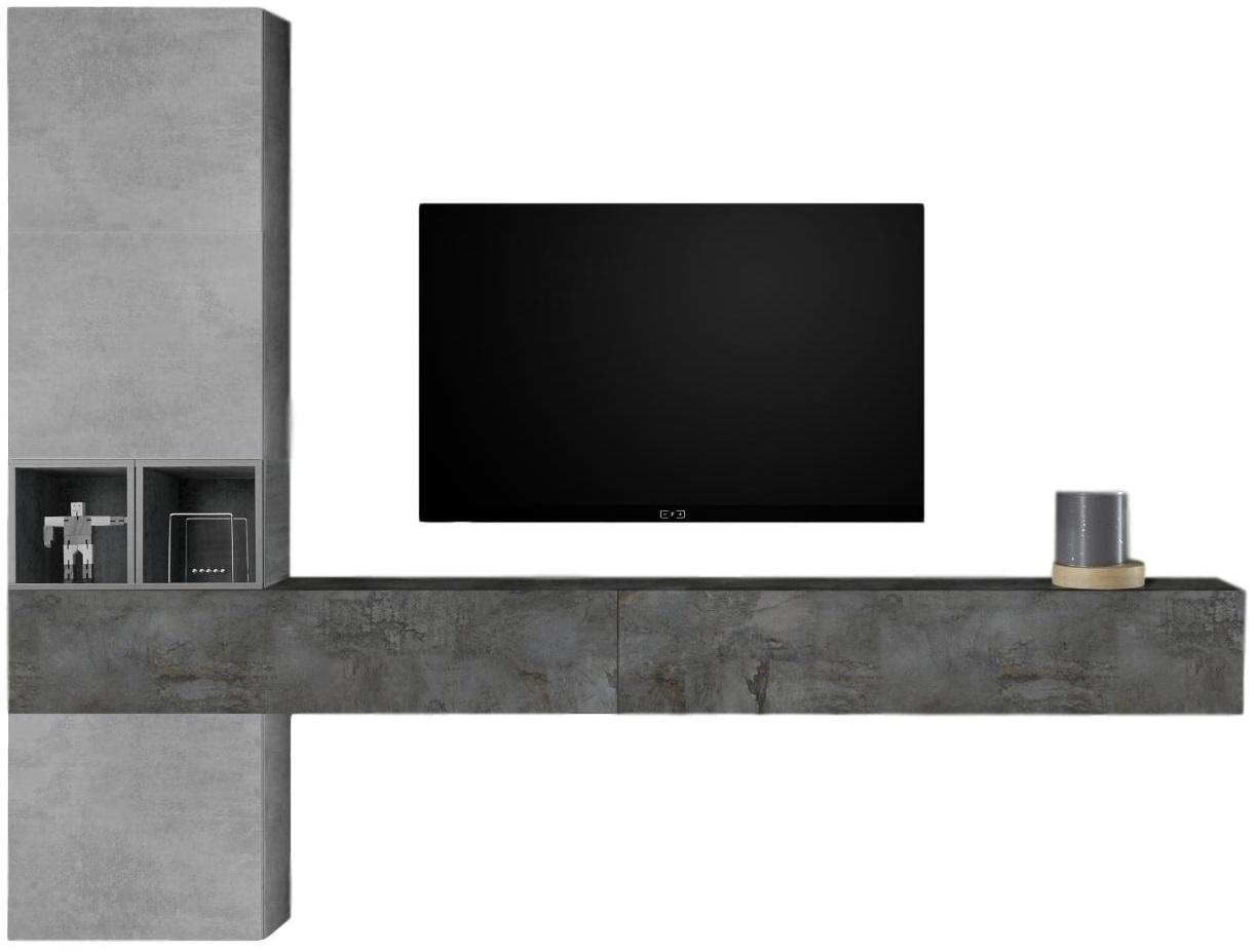 TV-wandmeubel set Berlin in grijs beton met Oxid   Pesaro Mobilia