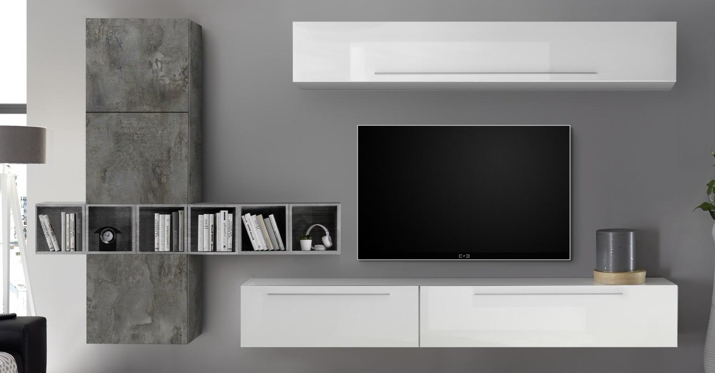 TV-wandmeubel set Bonbon in hoogglans wit en Oxid met grijs beton | Pesaro Mobilia