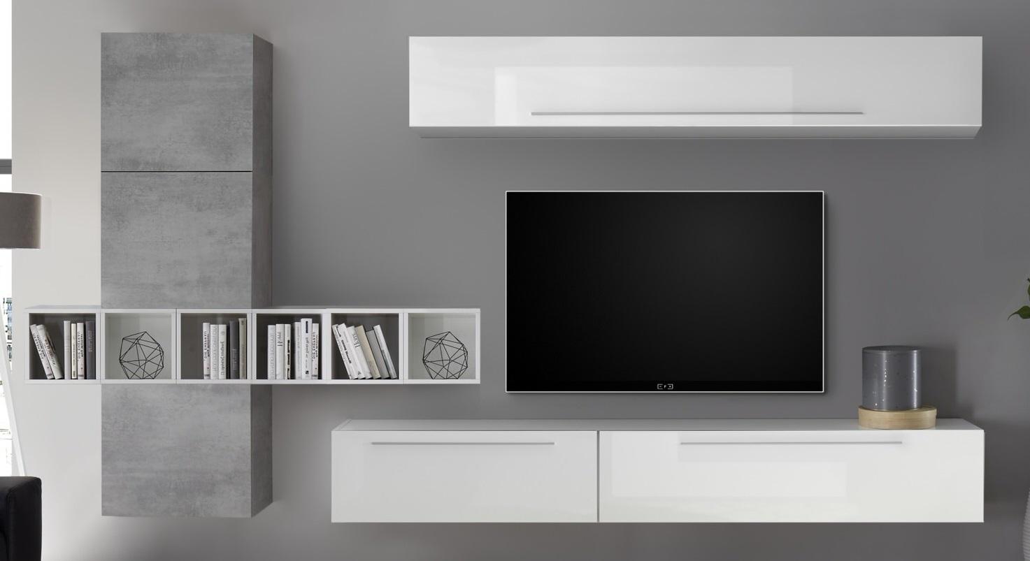 TV-wandmeubel set Bonbon in hoogglans wit met grijs beton | Pesaro Mobilia