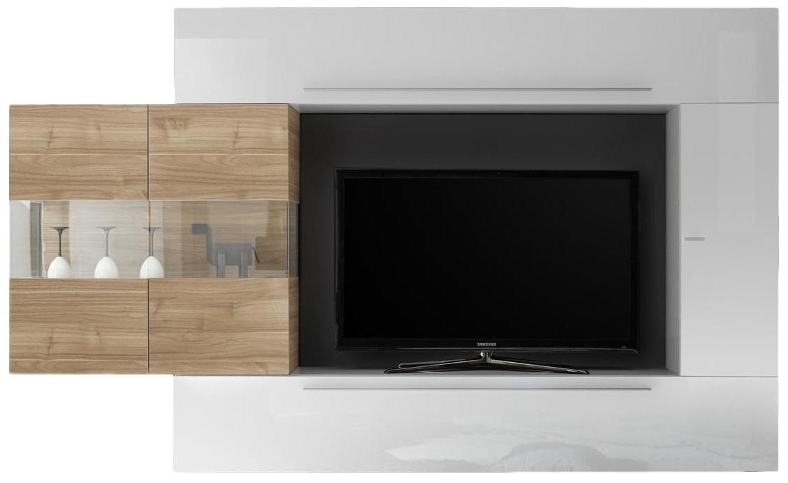 TV-wandmeubel set Cardi in hoogglans wit met eiken | Pesaro Mobilia