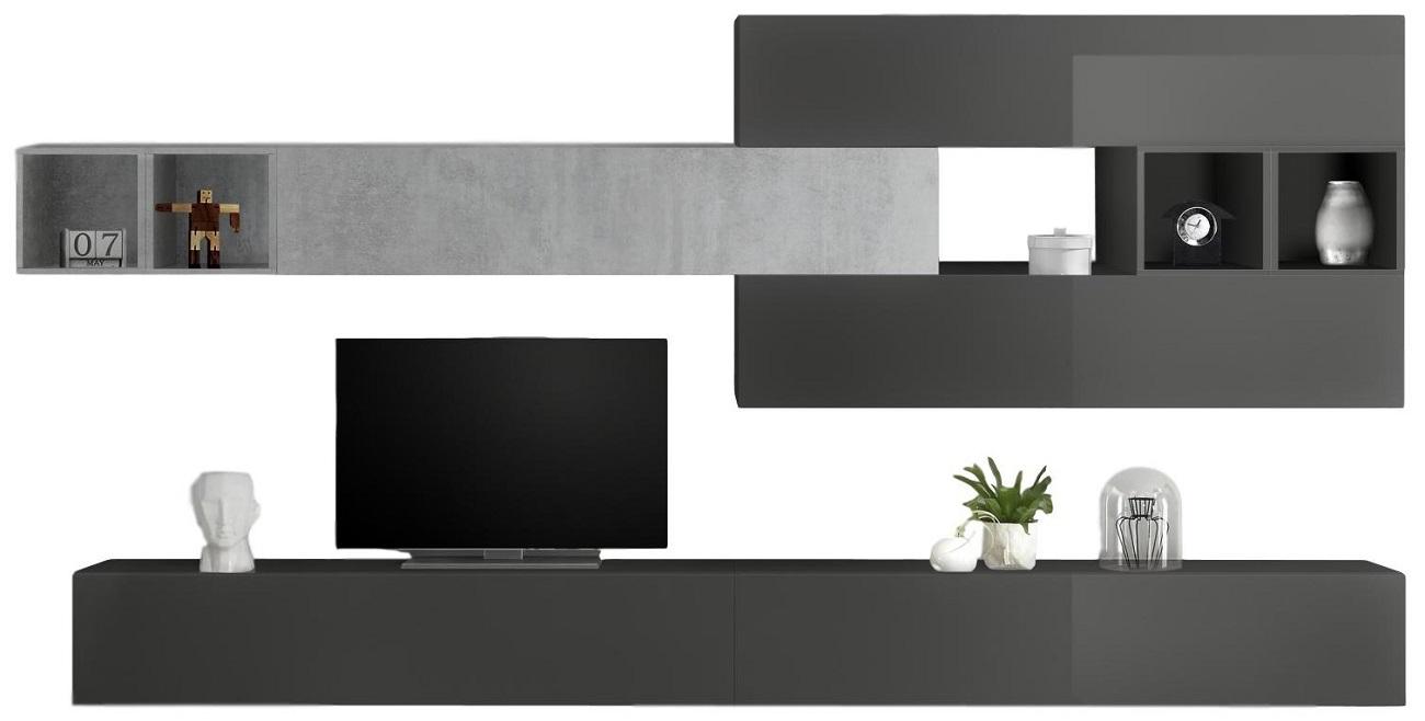 TV-wandmeubel set Davos in hoogglans grijs met grijs beton | Pesaro Mobilia