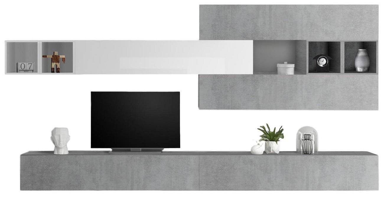 TV-wandmeubel set Davos in hoogglans wit met grijs beton | Pesaro Mobilia