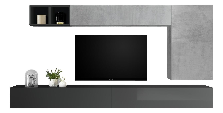 TV-wandmeubel set Dorado in hoogglans grijs met grijs beton | Pesaro Mobilia
