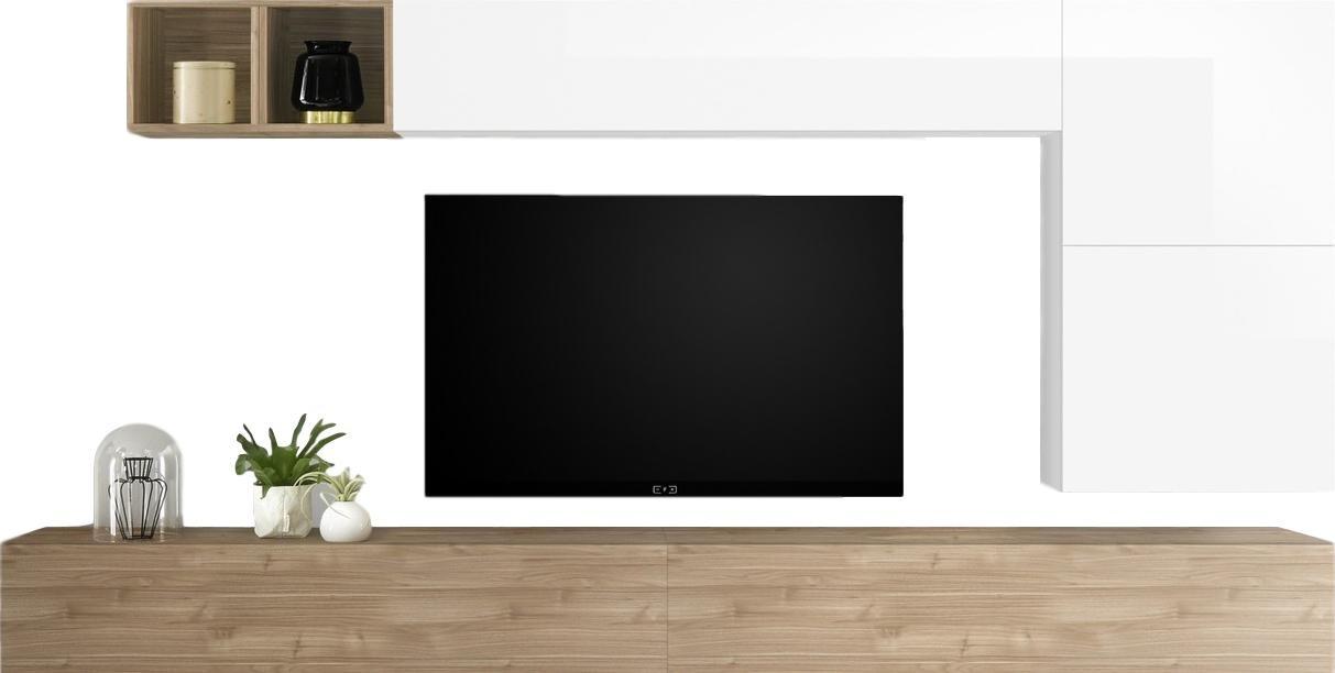 TV-wandmeubel set Dorado in hoogglans wit met eiken | Pesaro Mobilia