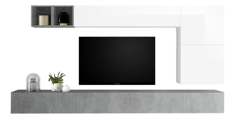 TV-wandmeubel set Dorado in hoogglans wit met grijs beton | Pesaro Mobilia