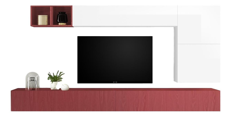 TV-wandmeubel set Dorado in hoogglans wit met rood | Pesaro Mobilia