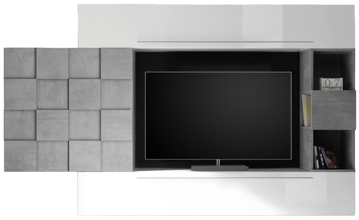TV-wandmeubel set Duran in hoogglans wit met grijs beton | Pesaro Mobilia