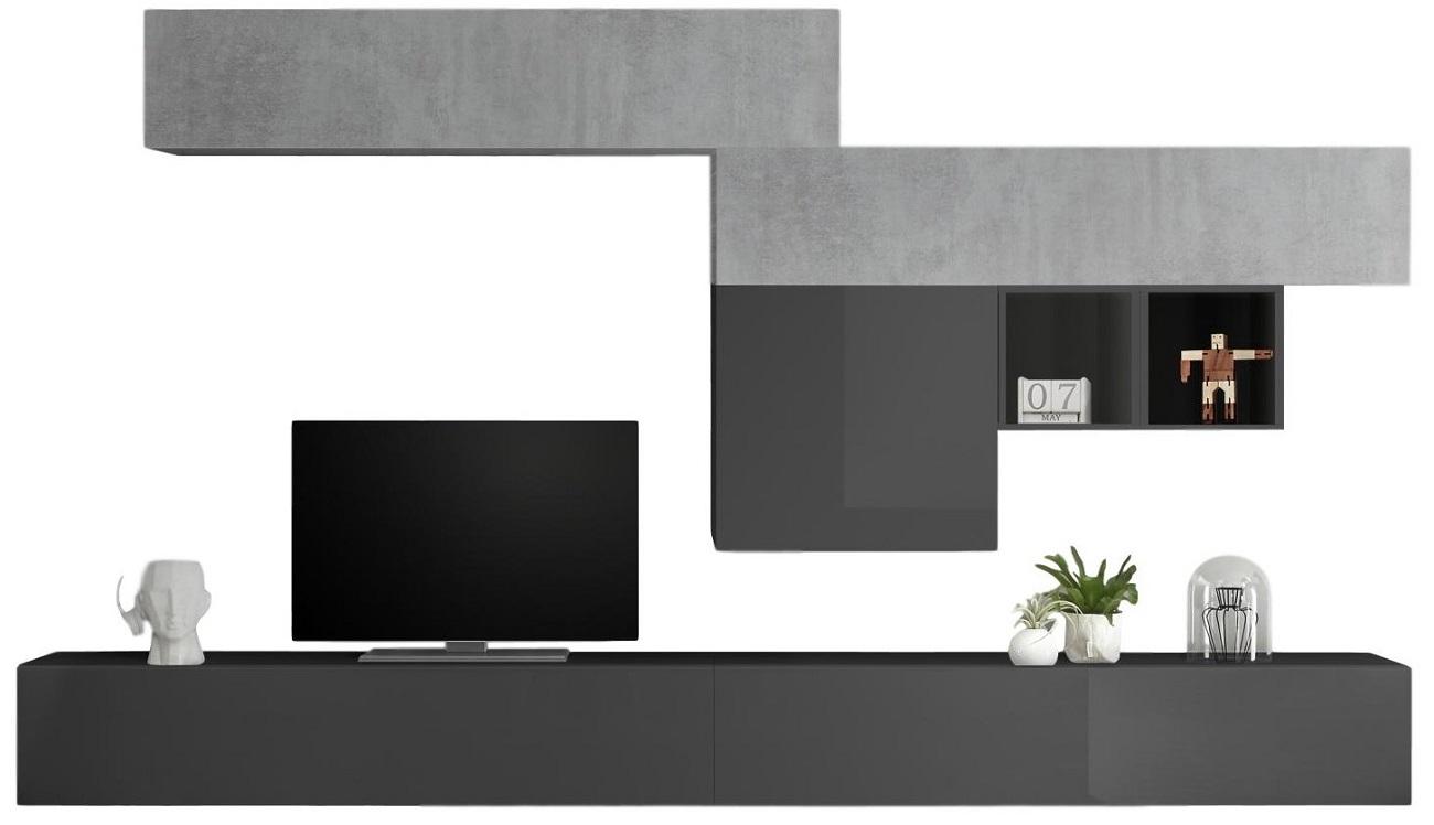 TV-wandmeubel set Kera in hoogglans grijs met grijs beton | Pesaro Mobilia