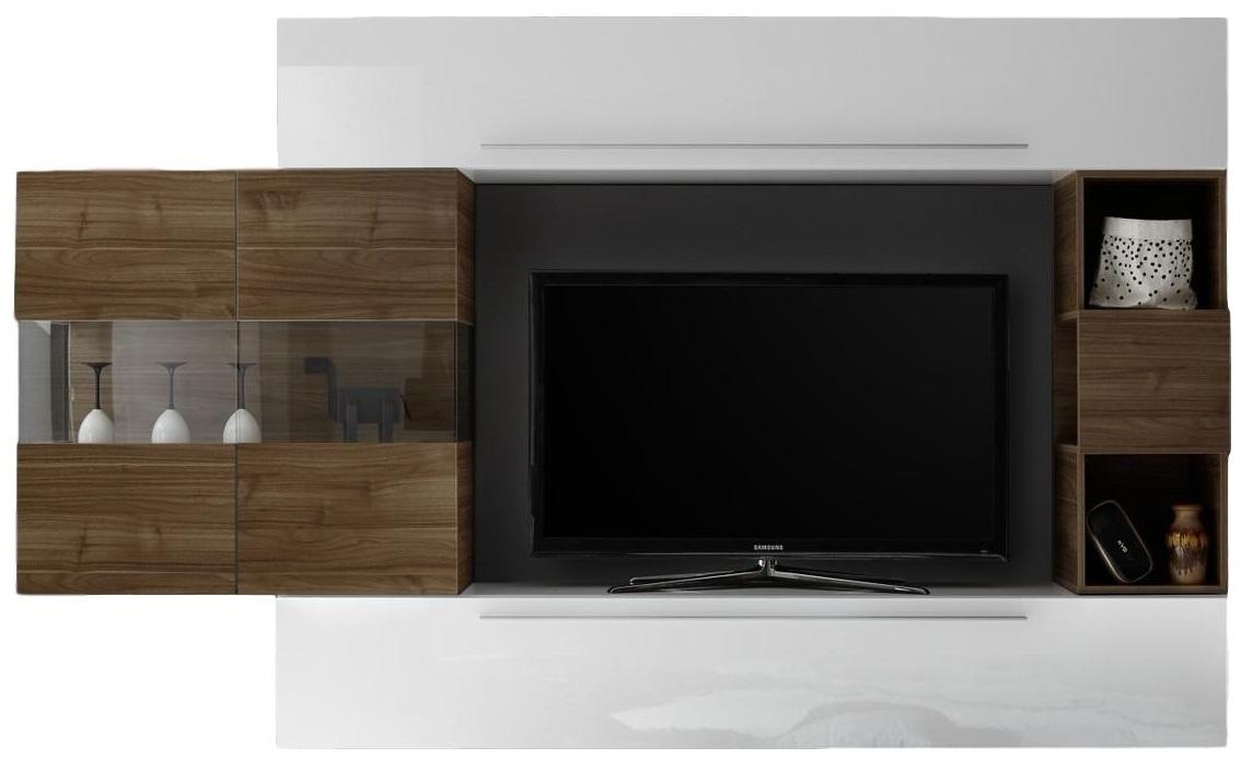 TV-wandmeubel set King in hoogglans wit met walnoot | Pesaro Mobilia