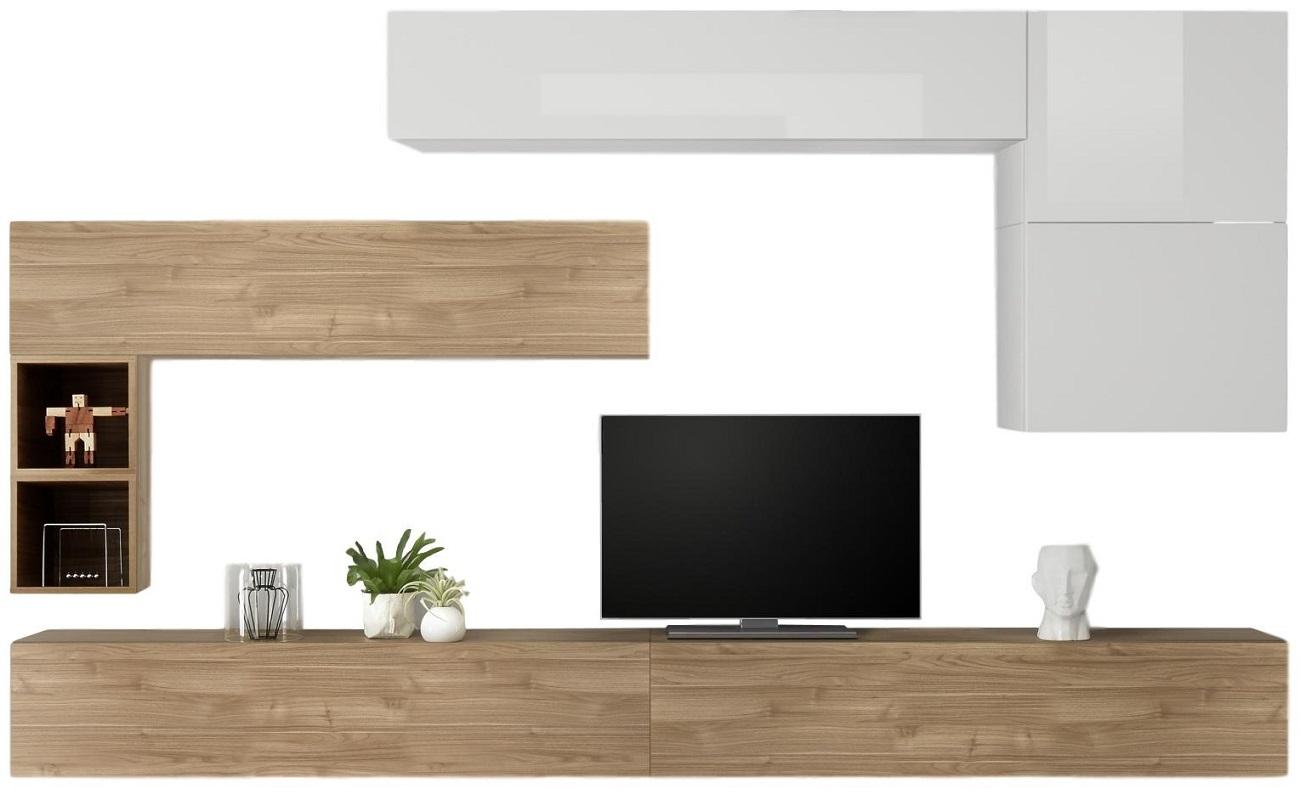 TV-wandmeubel set Linux in hoogglans wit met eiken | Pesaro Mobilia