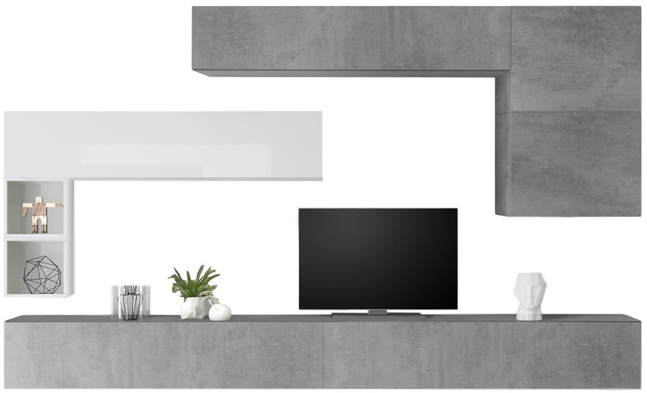 TV-wandmeubel set Linux in hoogglans wit met grijs beton | Pesaro Mobilia