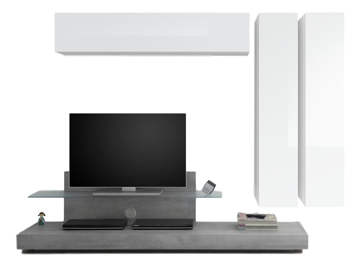 TV-wandmeubel set Maroon in hoogglans wit met grijs beton | Pesaro Mobilia