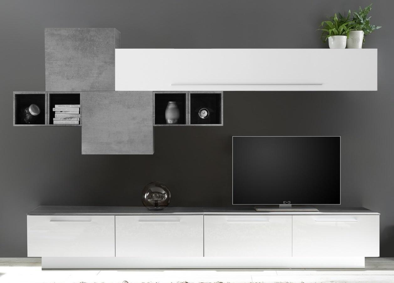 TV-wandmeubel set Matiz in hoogglans wit met grijs beton | Pesaro Mobilia