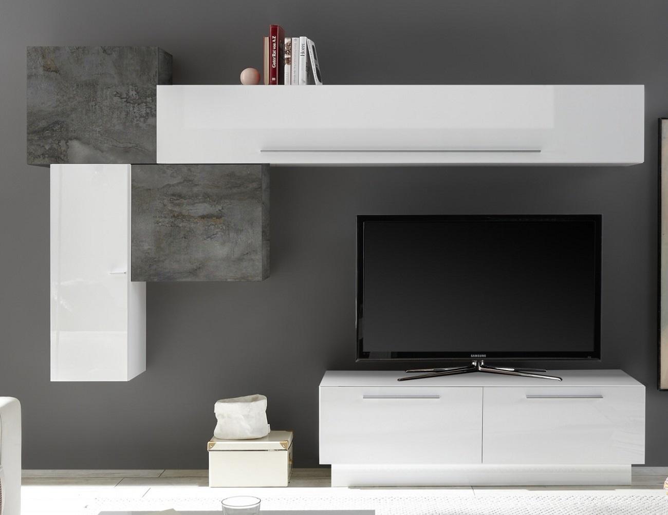 TV-wandmeubel set Maya in hoogglans wit met oxid | Pesaro Mobilia