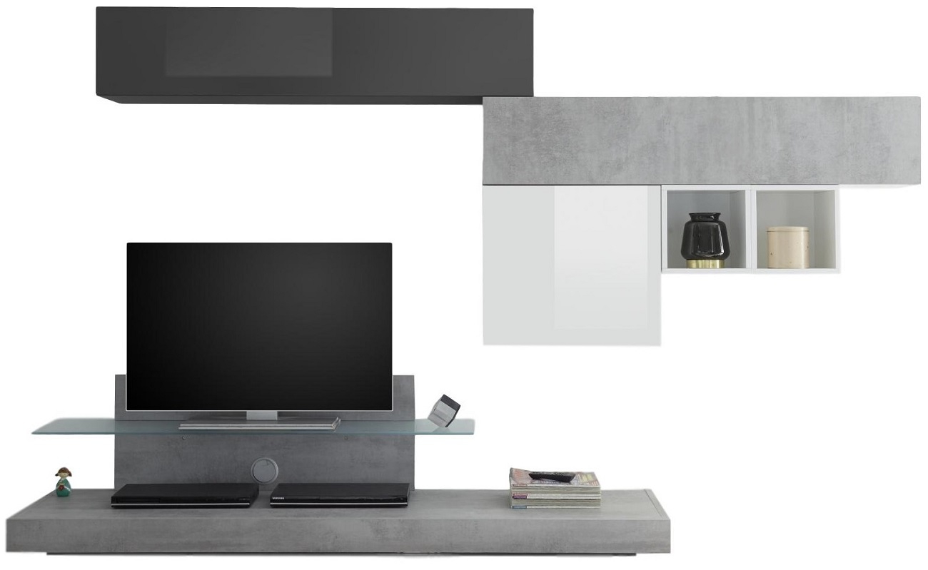 TV-wandmeubel set Mistro in hoogglans wit/grijs beton/hoogglans grijs | Pesaro Mobilia