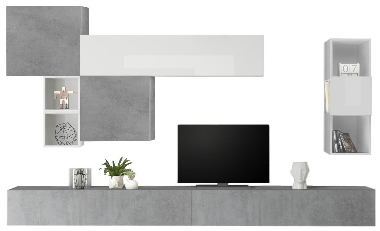TV-wandmeubel set Pedro in hoogglans wit met grijs beton | Pesaro Mobilia