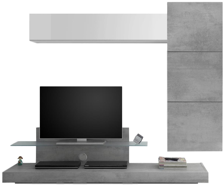 TV-wandmeubel set Pernis in hoogglans wit met grijs beton | Pesaro Mobilia