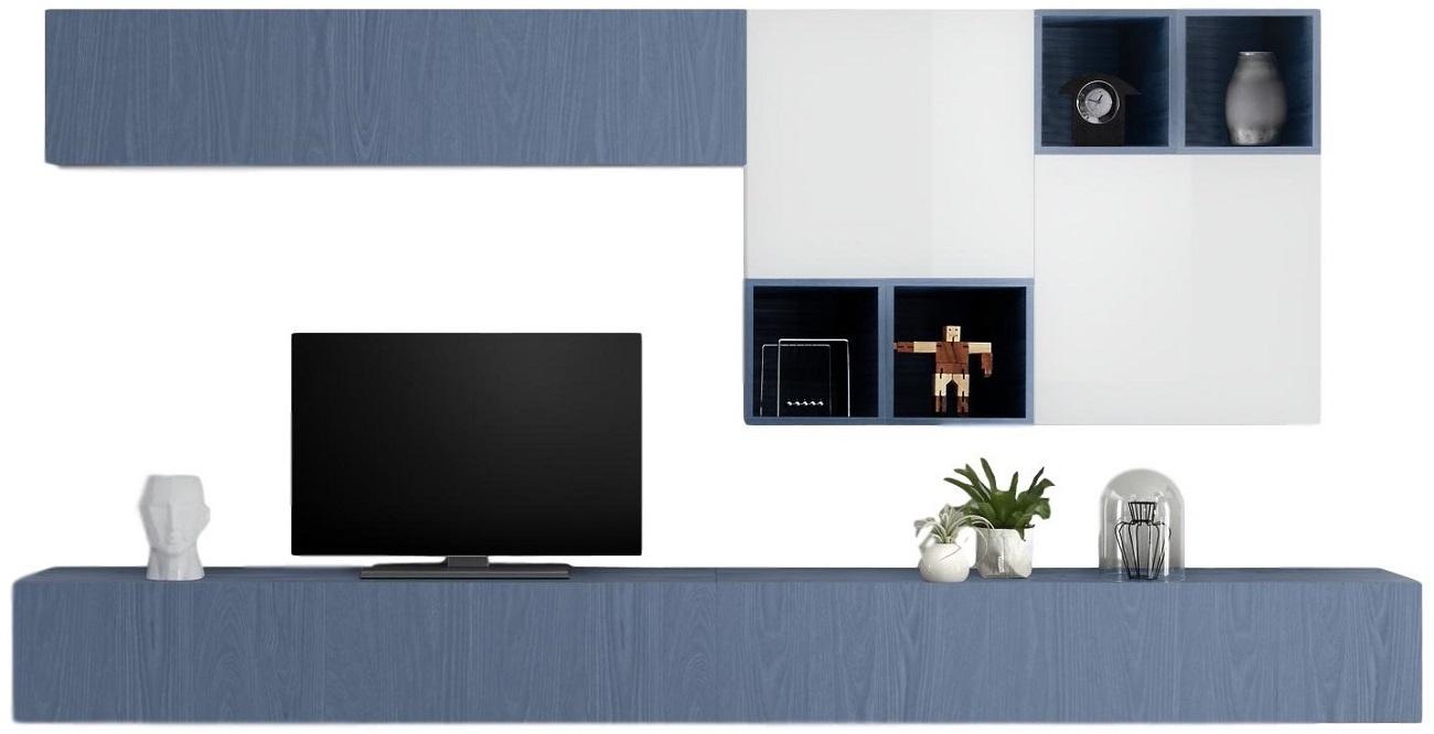 TV-wandmeubel set Sansa in hoogglans wit met blauw | Pesaro Mobilia