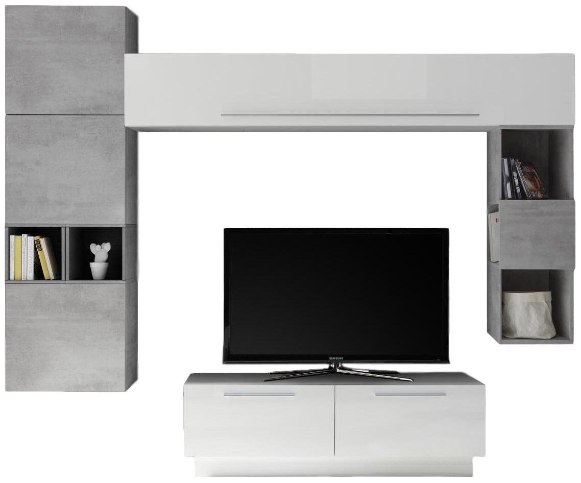 TV-wandmeubel set Wolker in hoogglans wit met grijs beton | Pesaro Mobilia