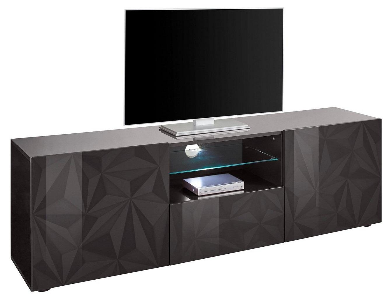 Tv-meubel Kristal 181 cm breed in hoogglans antraciet | Pesaro Mobilia