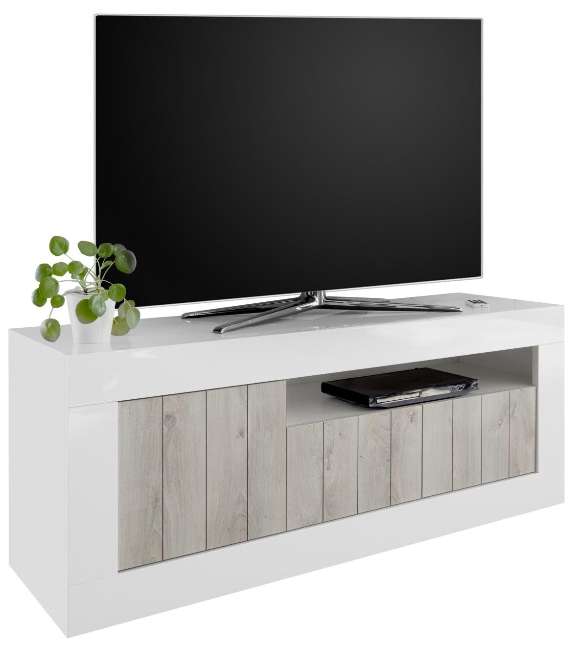 Tv-meubel Urbino 138 cm breed in hoogglans wit met grenen wit | Pesaro Mobilia