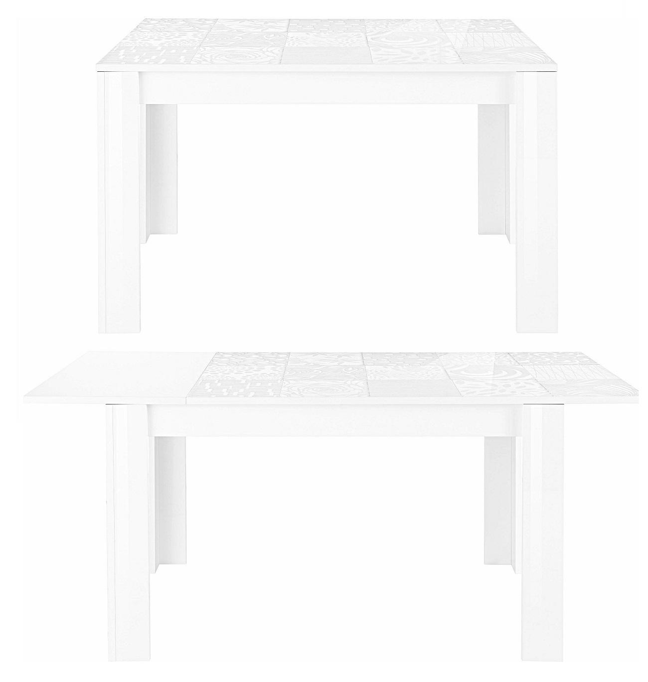 Uitschuifbare Eettafel Miro 180 tot 228 cm breed in hoogglans wit | Pesaro Mobilia