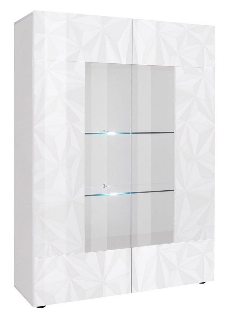 Vitrinekast Kristal 166 cm hoog in hoogglans wit | Pesaro Mobilia