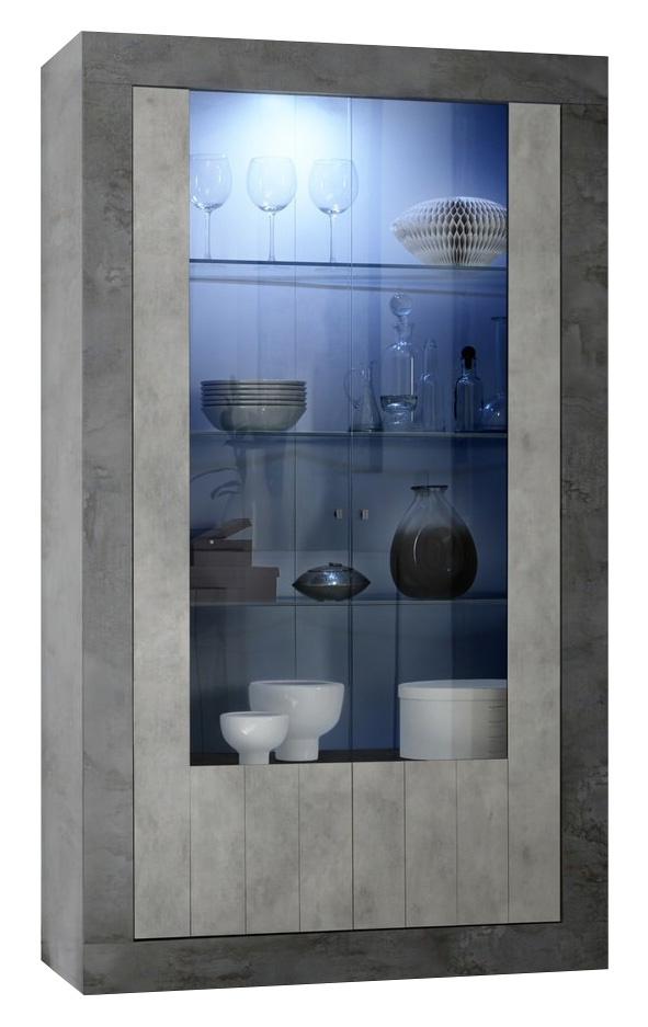 Vitrinekast Urbino 190 cm hoog in Oxid met grijs beton | Pesaro Mobilia