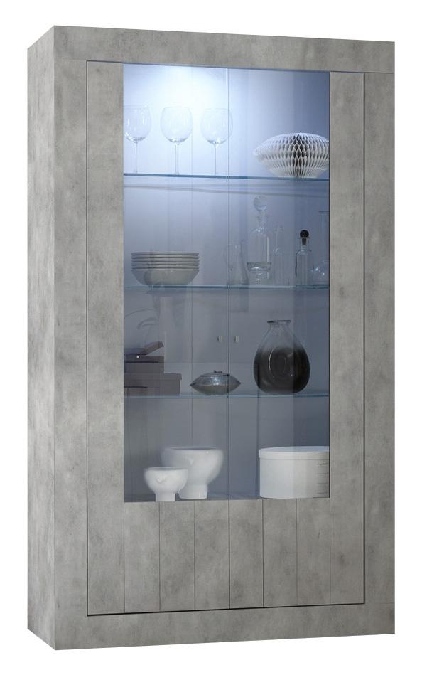 Vitrinekast Urbino 190 cm hoog in grijs beton | Pesaro Mobilia