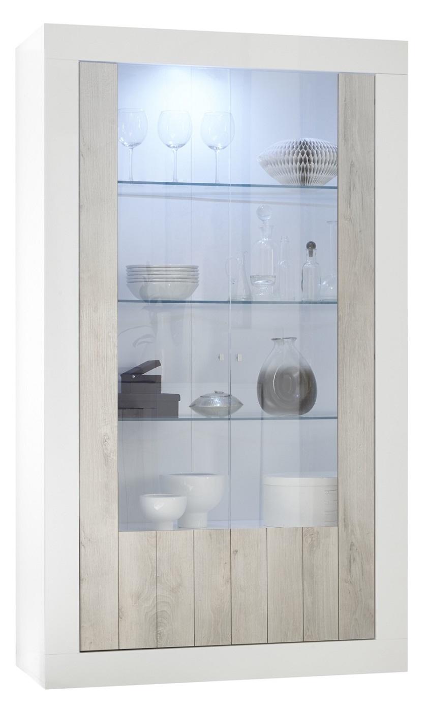 Vitrinekast Urbino 190 cm hoog in hoogglans wit met grenen wit | Pesaro Mobilia