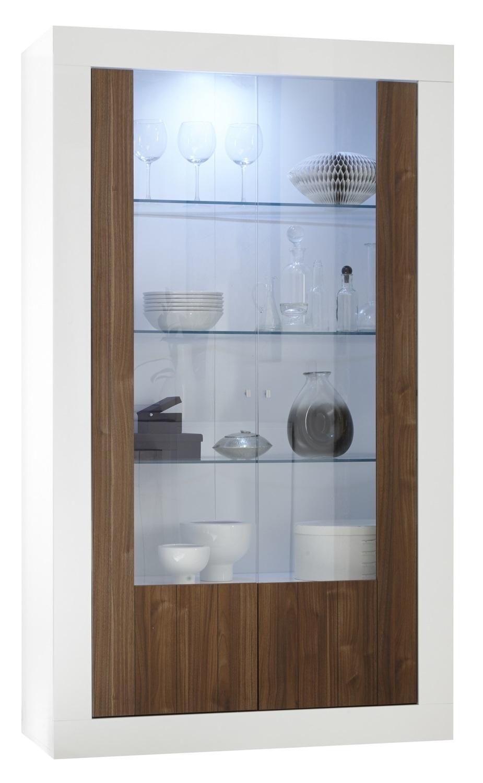 Vitrinekast Urbino 190 cm hoog in hoogglans wit met walnoot | Pesaro Mobilia