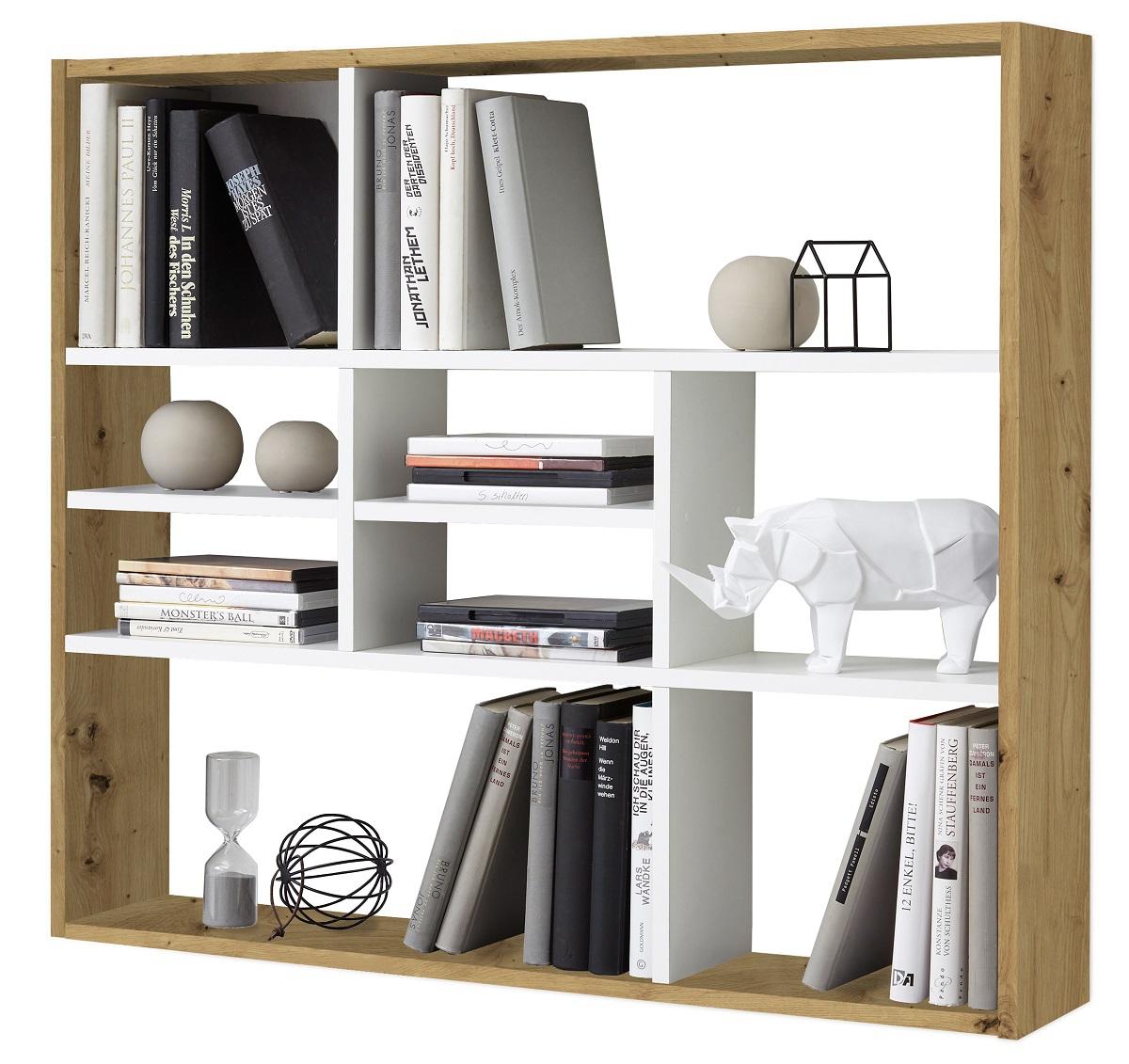 Wandrek Lussy 90 cm breed in artisan eiken met wit | FD Furniture