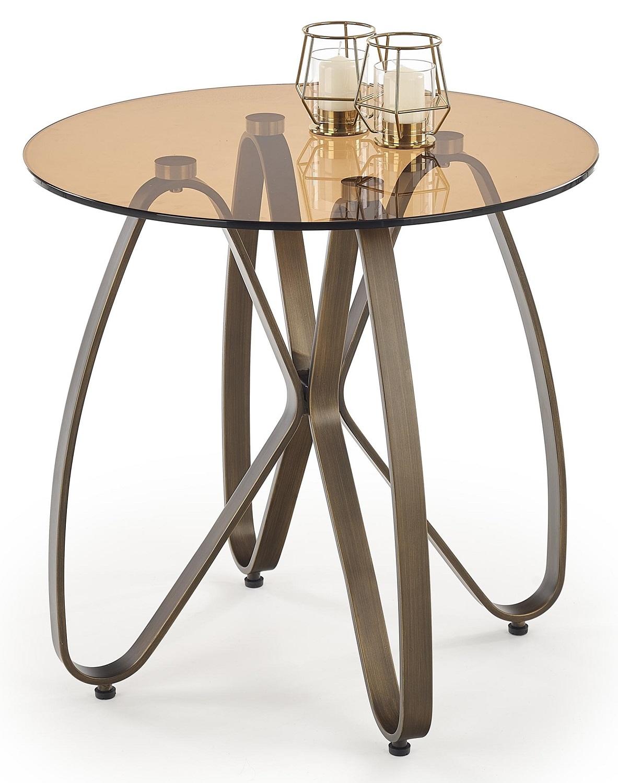 Bijzettafel Lunga 55x54x55 cm breed in bruin met antiek goud | Home Style