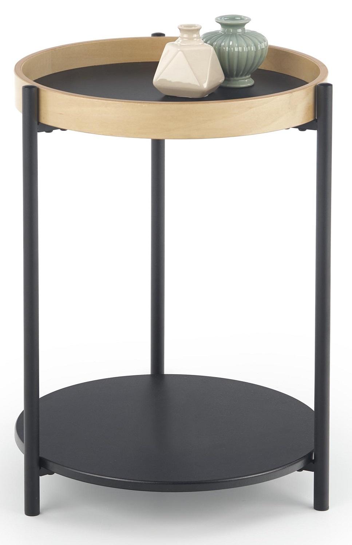 Bijzettafel Rolo 44x55x44 cm breed in natural eiken met zwart | Home Style