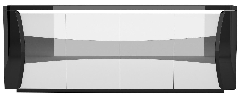Dressoir Tiago 220 cm breed in hoogglans zwart met wit | Ameubelment