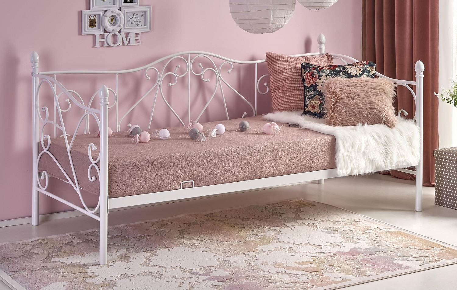 Eenpersoonsbed Sumatra 90x200cm in wit | Home Style