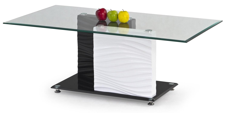 Glazen salontafel Shanel 120 cm breed wit met zwart | Home Style