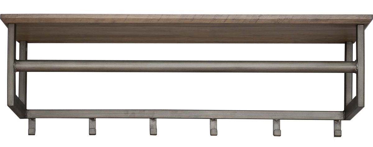 Kapstok Roede van 80 cm breed met 6 haken – Eiken greywash   Zaloni