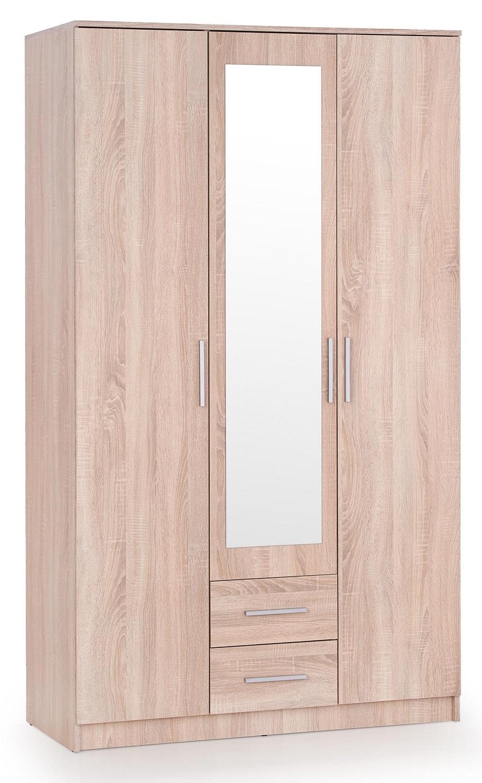 Kledingkast Lima 120 cm breed in sonoma eiken met spiegel | Home Style