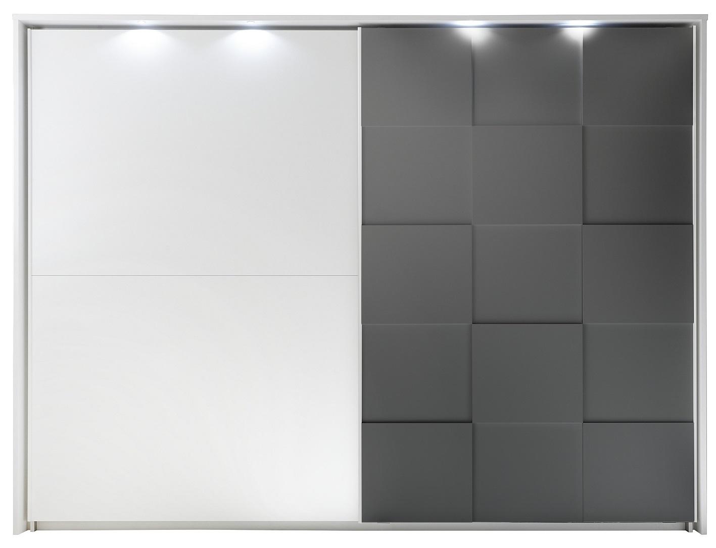Kledingkast Ottica 275 cm breed in mat wit met mat grijs   Pesaro Mobilia