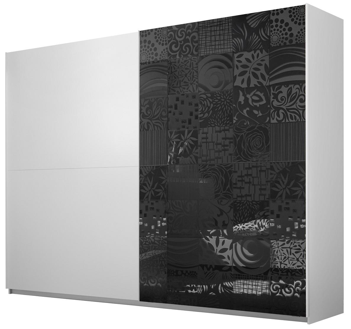 Kledingkast Perez 275 cm breed in mat wit met hoogglans antraciet | Pesaro Mobilia