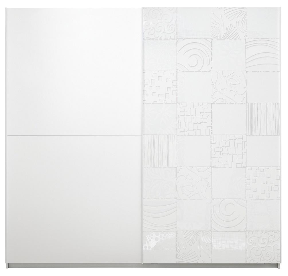 Kledingkast Perez 275 cm breed in mat wit met hoogglans wit   Pesaro Mobilia