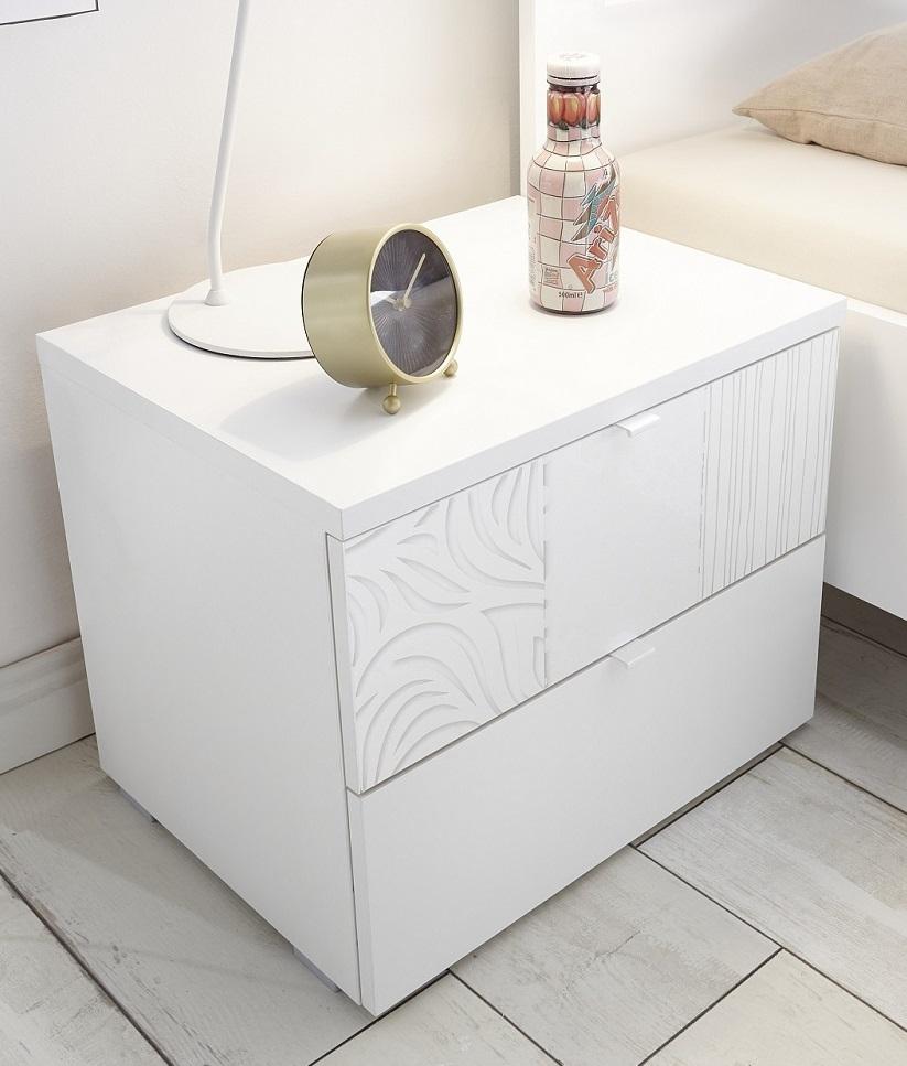 Nachtkastje Perez 42 cm hoog in mat wit met hoogglans wit | Pesaro Mobilia
