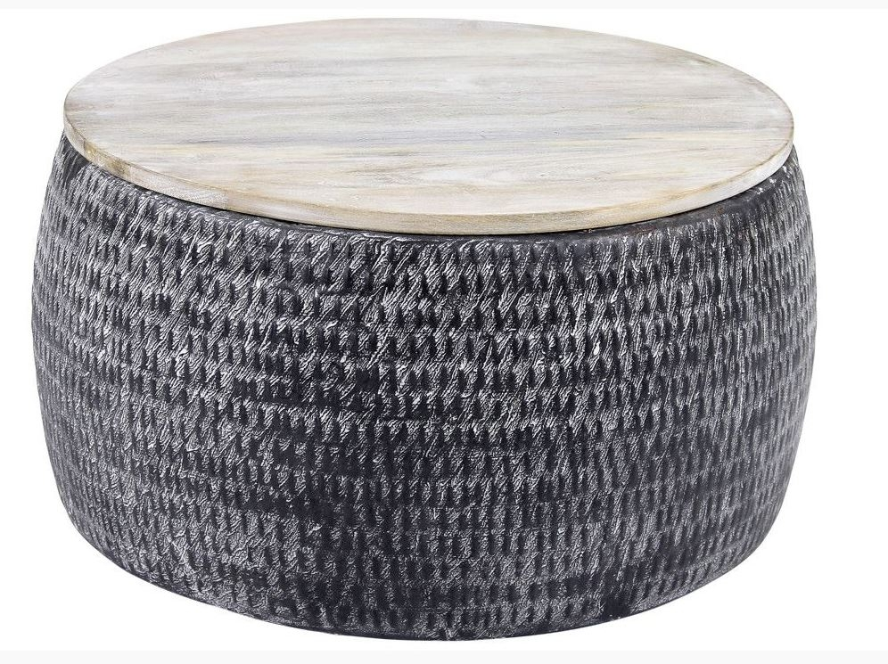 Ronde salontafel Sardo 60 cm breed grijs met gepatineerd mango hout | Zaloni