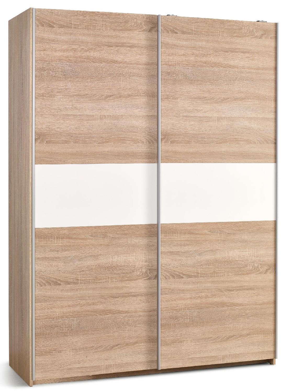Schuifdeurkast Lima 153 cm breed in sonoma eiken met hoogglans wit | Home Style