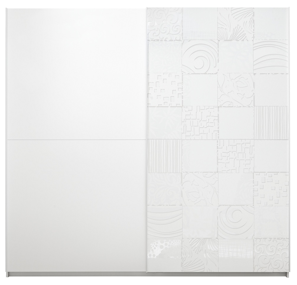 Schuifdeurkast Perez 220 cm breed in mat wit met hoogglans wit | Pesaro Mobilia