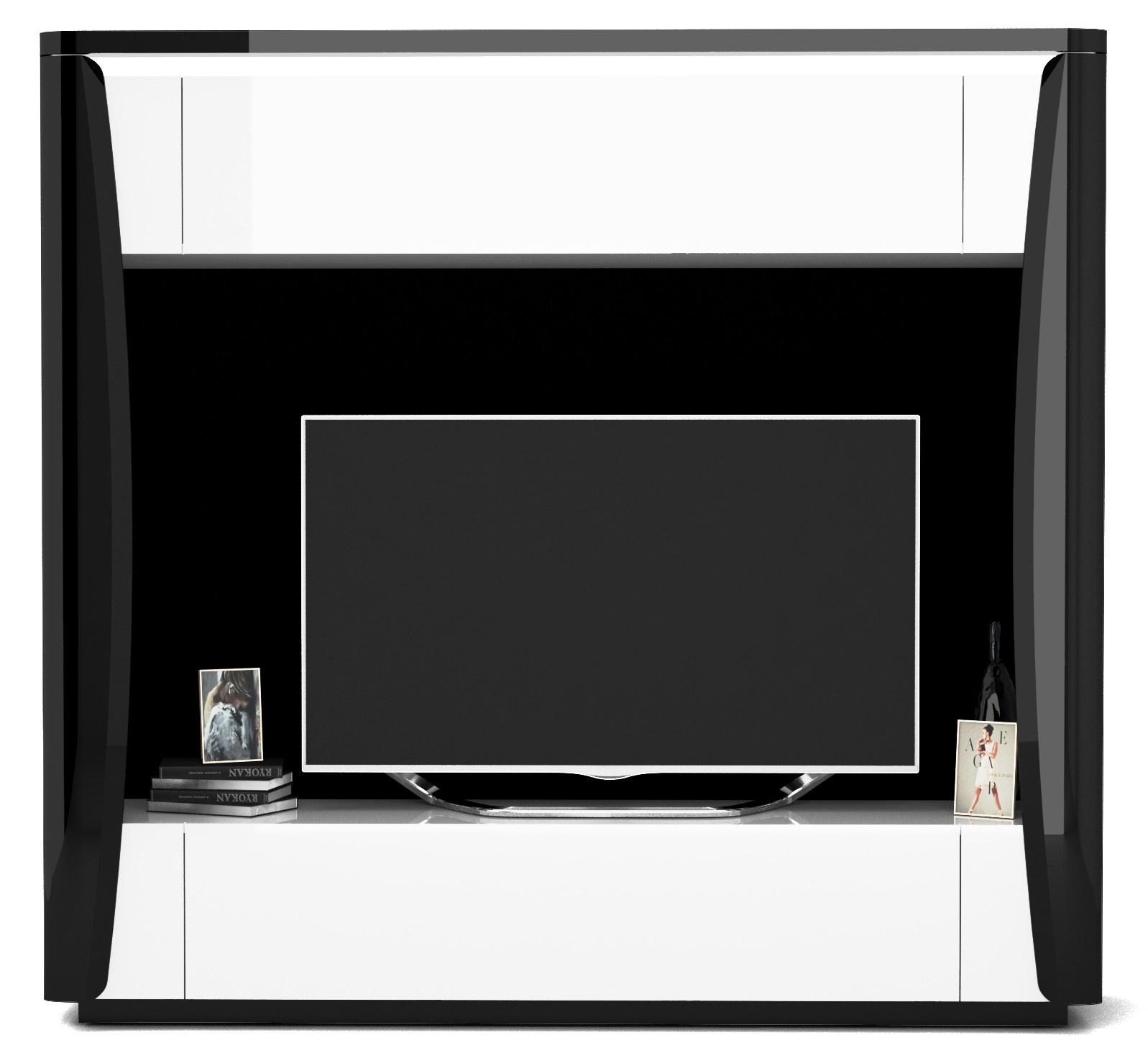 Tv-meubel Tiago 180 cm hoog in hoogglans zwart met wit | Ameubelment