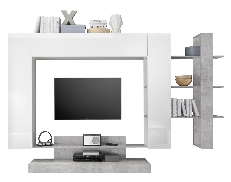 Tv-wandmeubel Jason 259 cm breed in wit met grijs beton | Pesaro Mobilia