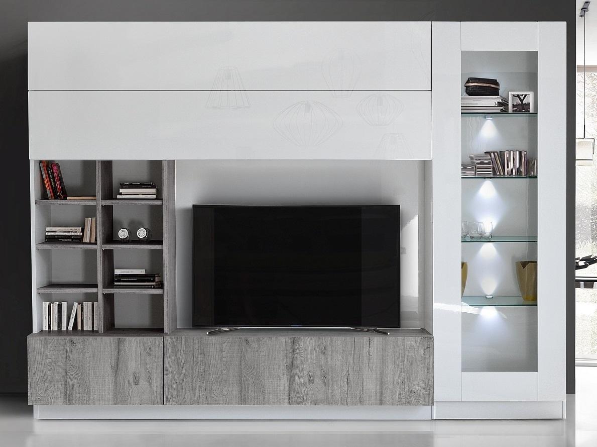 Tv-wandmeubel Line 280 cm breed in hoogglans wit met grijs eiken | Pesaro Mobilia