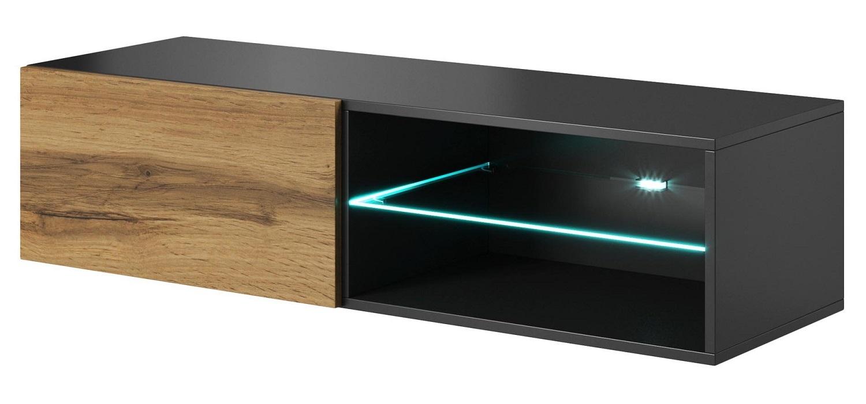 Tv-wandmeubel Livo 120 cm breed in votan eiken met antraciet | Home Style